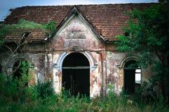 在巴西内部的被放弃的火车站 免版税库存图片