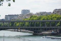 在巴黎人塞纳河的一座桥梁 免版税库存图片