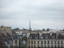 在巴黎屋顶的灰色天空在由于一个多云的春日在巴黎圣母院射击 免版税库存图片