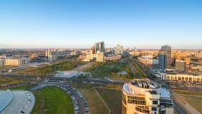 在市中心和中心商务区日落Timelapse,中亚,哈萨克斯坦,阿斯塔纳的高的看法 影视素材