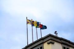 在市场、梅尔卡多dos Lavradores或工作者的市场上的旗子 库存照片