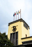 在市场、梅尔卡多dos Lavradores或工作者的市场上的旗子 免版税库存照片