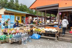 在市场上在Arshan 俄国 免版税库存图片