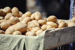 在市场摊位的土豆 库存照片