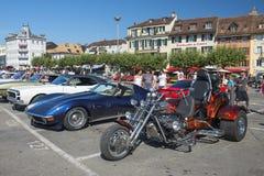 在市场的葡萄酒汽车在沃韦,瑞士 图库摄影