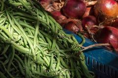 在市场,摩洛哥上的青豆 免版税库存照片