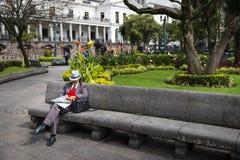 在市基多供以人员读在一条长凳的一张报纸在一个公园在独立广场,在厄瓜多尔 免版税库存照片
