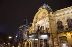 在市政House的看法(1912)艺术nouveau样式的--是一个主要地标和音乐厅在布拉格,捷克 免版税库存照片