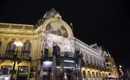 在市政House的看法(1912)艺术nouveau样式的--是一个主要地标和音乐厅在布拉格,捷克 免版税库存图片