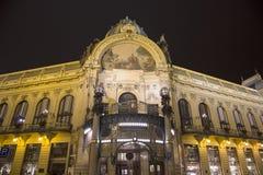 在市政House的看法(1912)艺术nouveau样式的--是一个主要地标和音乐厅在布拉格,捷克 图库摄影