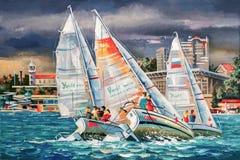 在市的背景的赛船会索契 附庸风雅 库存例证