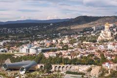 在市的鸟瞰图第比利斯,乔治亚 免版税库存图片