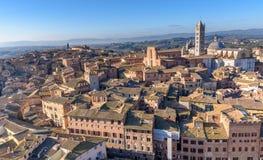 在市的鸟瞰图锡耶纳,托斯卡纳,意大利 库存照片