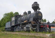 在市的驻地的Тhe老蒸汽机车TK3米凯利 芬兰 图库摄影