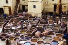 在市菲斯供以人员工作在一tannerie在摩洛哥 库存照片