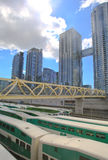 在市郊火车的独特的脚桥梁,多伦多,安大略,加拿大 库存图片