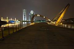在布城水坝的被成拱形的桥梁和水坝 库存图片