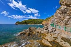 在布德瓦黑山的海滩 免版税库存图片