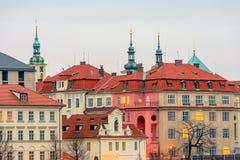 在布拉格和Clementinum的历史中心的接近的视图 免版税图库摄影