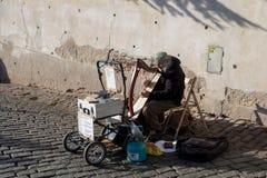 在布拉格城堡,捷克后的音乐家 免版税库存照片