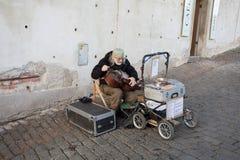 在布拉格城堡,捷克后的音乐家 免版税库存图片