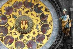 在布拉格天文学时钟的日历板材 免版税库存照片