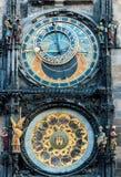 在布拉格天文学时钟的特写镜头 免版税库存图片