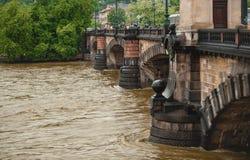 在布拉格桥梁的被充斥的河 库存图片