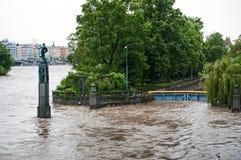 在布拉格桥梁的被充斥的河 免版税库存照片