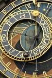 在布拉格特写镜头视图的天文学时钟 库存图片