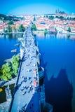在布拉格的看法从老镇桥梁塔 免版税库存照片
