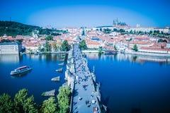 在布拉格的看法从老镇桥梁塔 库存照片