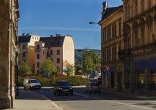 在布拉格街道上的环形交通枢纽 免版税库存照片