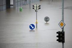 洪水在布拉格,捷克, 2013年6月 免版税库存图片