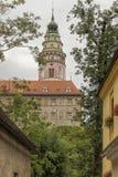 在布拉格, Czec南部的Cesky Keumlov、历史城市160 km或100英里 库存照片
