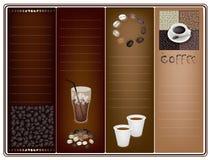 在布朗背景的一块咖啡小册子模板 库存图片