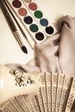 在布的Waterciolor油漆与刷子 图库摄影