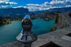 在布莱德湖,卢布尔雅那,斯洛文尼亚的美丽的景色 库存照片
