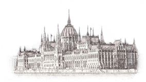 在布达佩斯例证的手拉的匈牙利议会 背景查出的白色