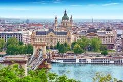 在布达佩斯市的全景视图 免版税库存图片