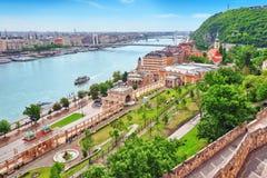 在布达佩斯市的全景视图 库存图片