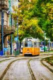 在布达佩斯街道的老电车  免版税库存图片