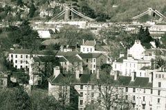 在布里斯托尔的看法有吊桥的在背景B英国中 库存照片