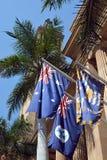 在布里斯班香港大会堂,昆士兰,澳大利亚之外的三面旗子 库存图片