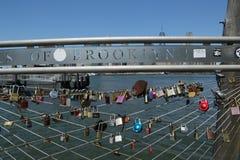 在布鲁克林大桥公园爱锁在布鲁克林,纽约 库存照片