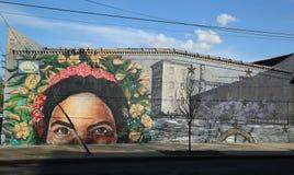 在布鲁克林的红色勾子部分的墙壁上的艺术 免版税库存照片