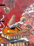 在布鲁克林街道上的被绘的墙壁 库存图片