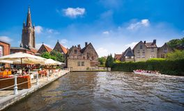 在布鲁基运河, 2017年7月08日的比利时的看法 免版税库存图片