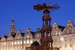 在布鲁塞尔大广场的圣诞节花的 免版税图库摄影
