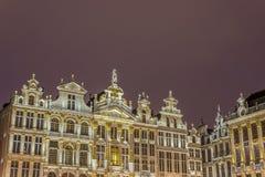 在布鲁塞尔大广场的市政厅在布鲁塞尔,比利时 图库摄影